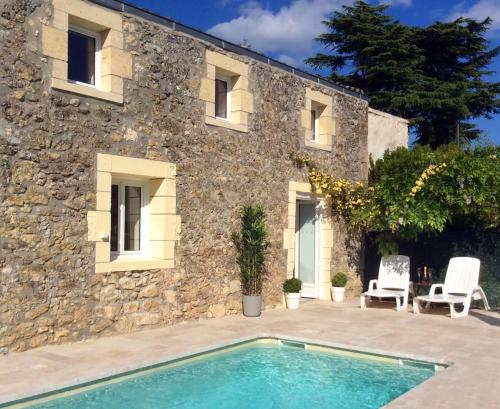 La Porte Bleue with Private Heated Outdoor Pool : Guest accommodation near Lamothe-Montravel