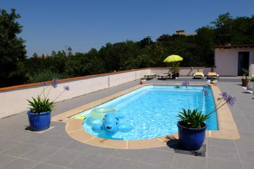 Jolie chambre,vue sur piscine : Bed and Breakfast near Fourques