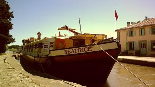 Hotel barge Beatrice cruises on the canal du midi : Guest accommodation near Cers
