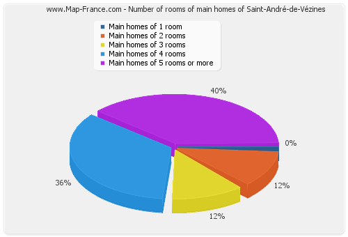 Number of rooms of main homes of Saint-André-de-Vézines
