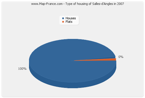 Type of housing of Salles-d'Angles in 2007