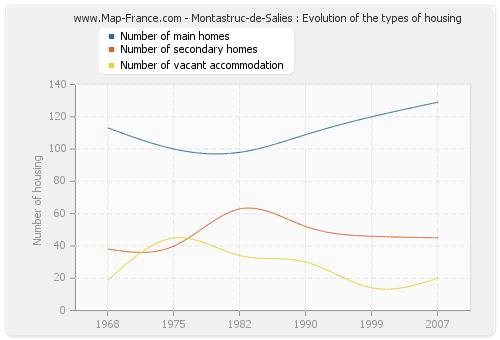Montastruc-de-Salies : Evolution of the types of housing