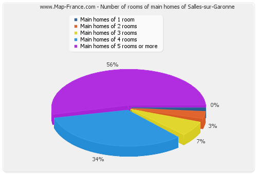 Number of rooms of main homes of Salles-sur-Garonne