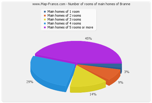 Number of rooms of main homes of Branne
