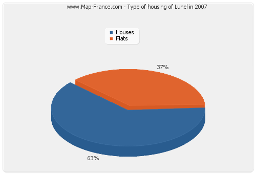 Type of housing of Lunel in 2007