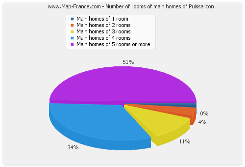 Number of rooms of main homes of Puissalicon