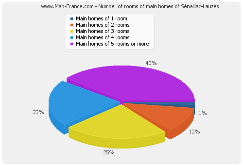 Number of rooms of main homes of Sénaillac-Lauzès