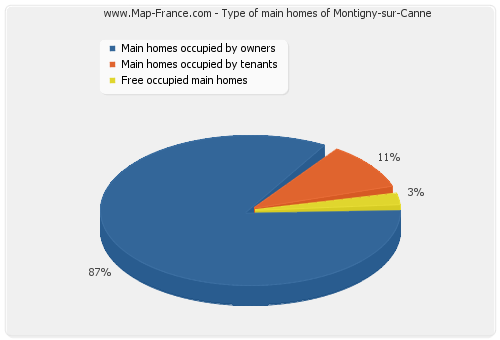 Type of main homes of Montigny-sur-Canne