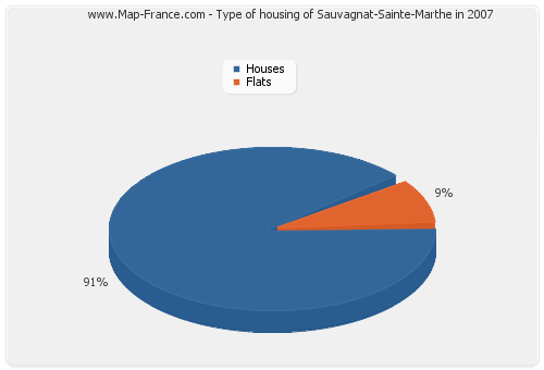 Type of housing of Sauvagnat-Sainte-Marthe in 2007