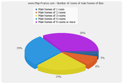 Number of rooms of main homes of Bize
