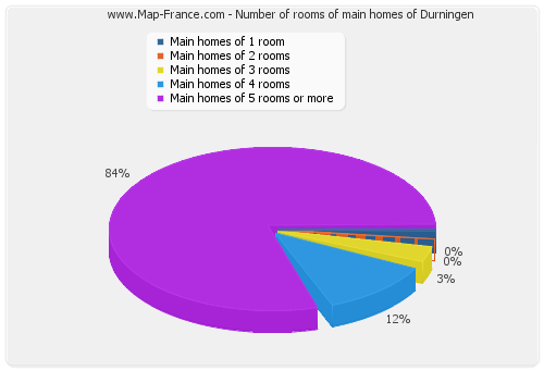 Number of rooms of main homes of Durningen
