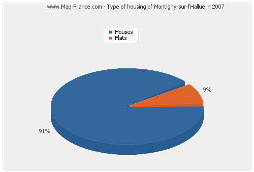 Type of housing of Montigny-sur-l'Hallue in 2007