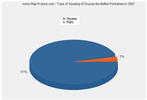 Type of housing of Druyes-les-Belles-Fontaines in 2007