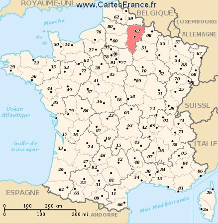 AISNE : map, cities and data of the departement of Aisne 02