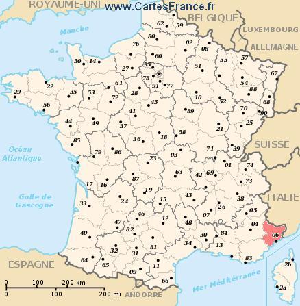 map department Alpes-Maritimes