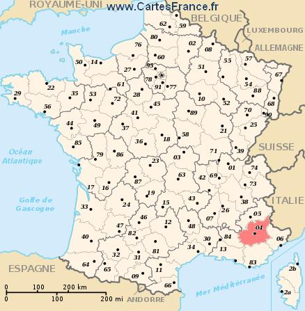ALPES-DE-HAUTE-PROVENCE : map, cities and data of the departement ...
