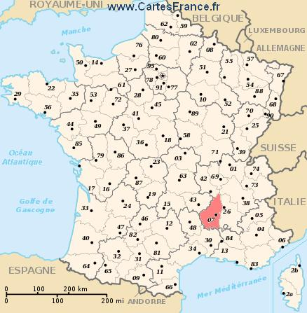 map department Ardèche