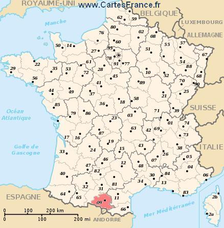 map department Ariège