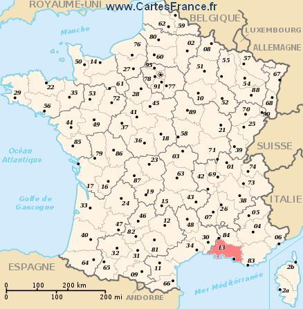 map department Bouches-du-Rhône