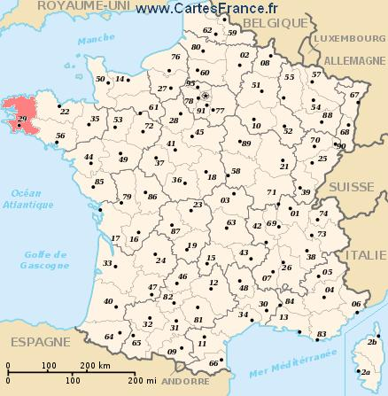map department Finistère