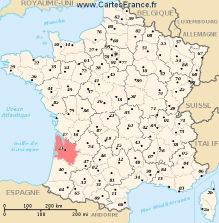 map department Gironde