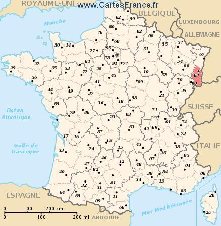 map department Haut-Rhin