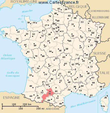 map department Haute-Garonne