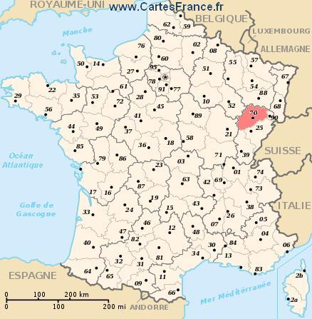 map department Haute-Saône