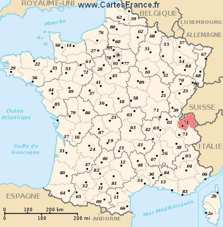 map department Haute-Savoie