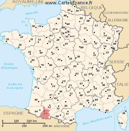 map department Hautes-Pyrénées