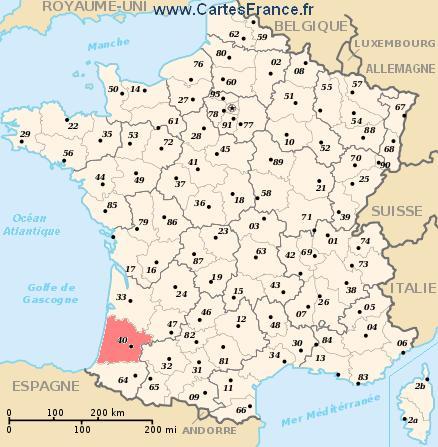 département des landes carte LANDES : map, cities and data of the departement of Landes 40