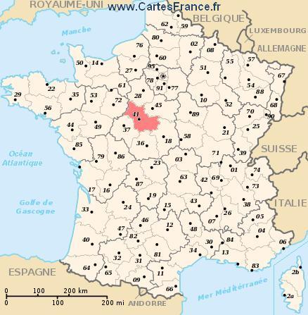 map department Loir-et-Cher