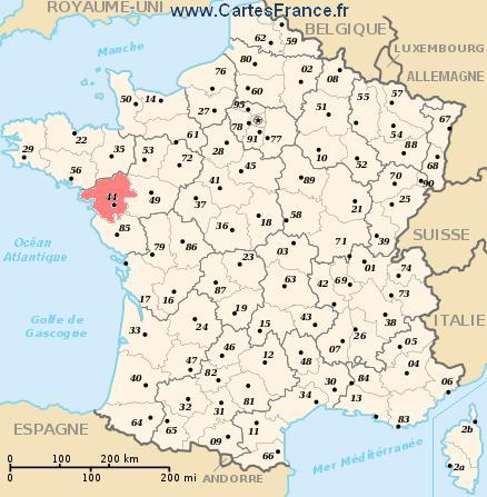 map department Loire-Atlantique