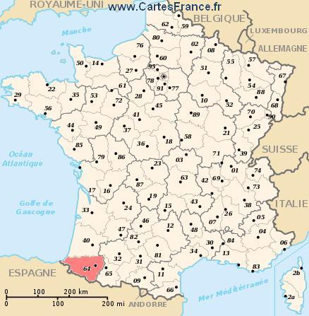 map department Pyrénées-Atlantiques