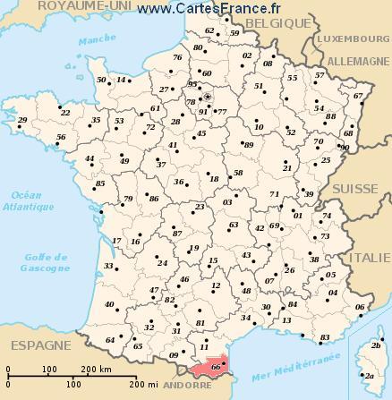 map department Pyrénées-Orientales