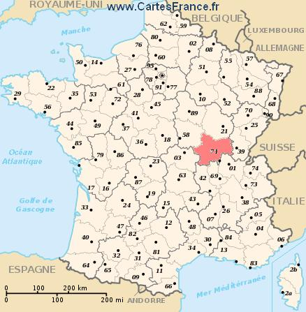 SAONE ET LOIRE : map, cities and data of the departement of Saône