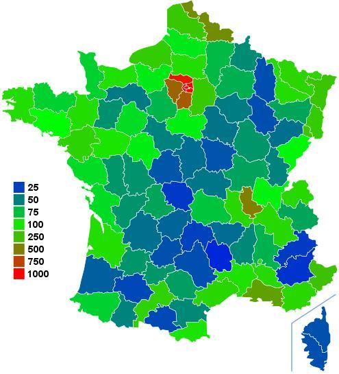 Map of France population density