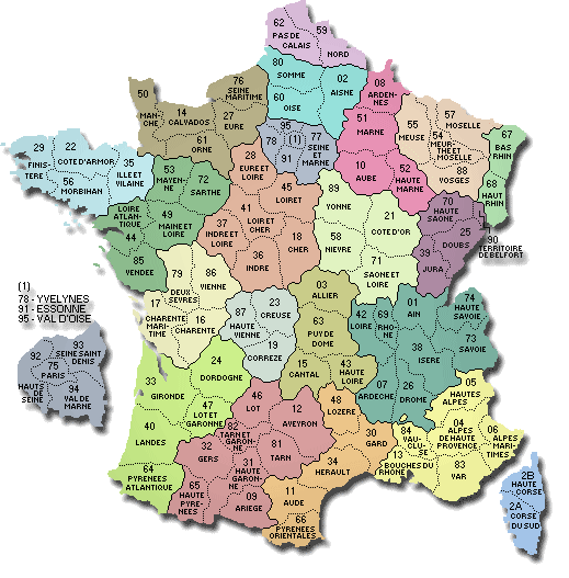 Map of french departments