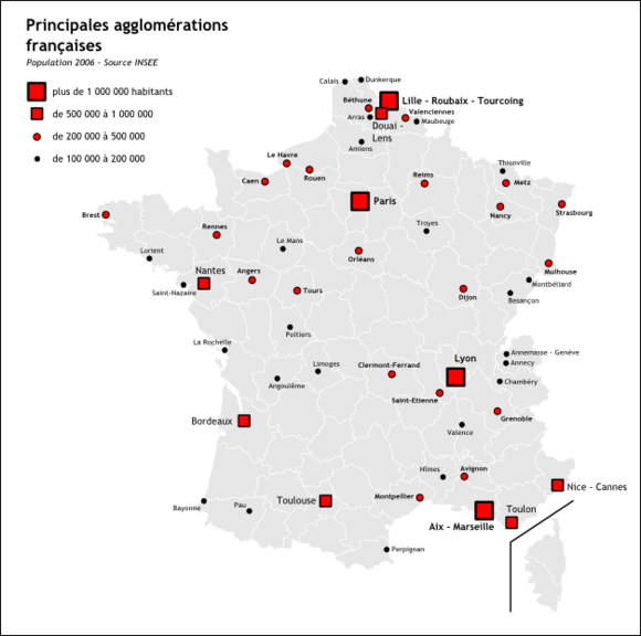 MAP OF FRANCE URBAN AREA