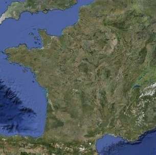 Satellite map of France