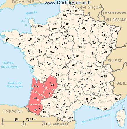 map region Aquitaine