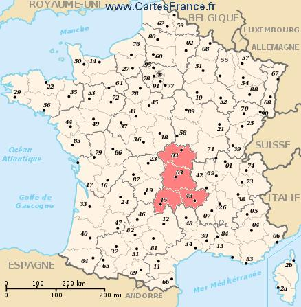 auvergne carte de france AUVERGNE : map, cities and data of the region Auvergne   France