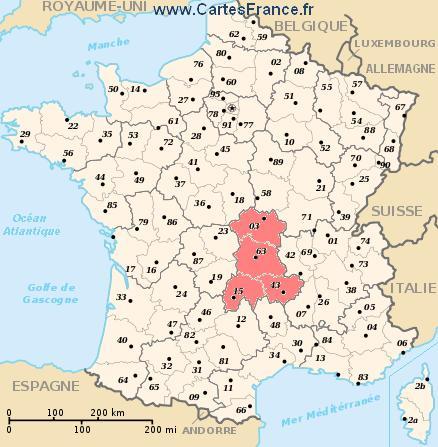 map region Auvergne