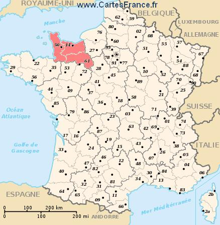 map region Basse-Normandie