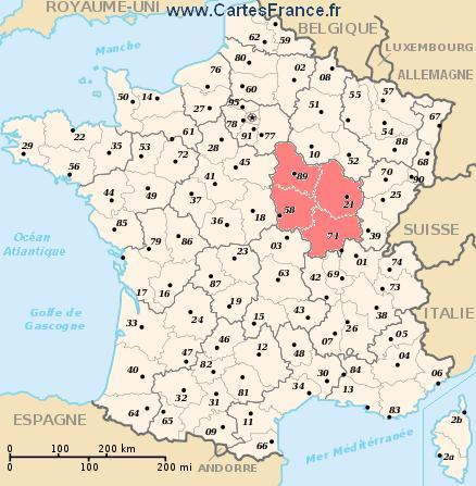 map region Bourgogne
