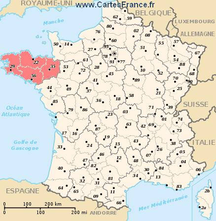 BRETAGNE : map, cities and data of the region Bretagne   France