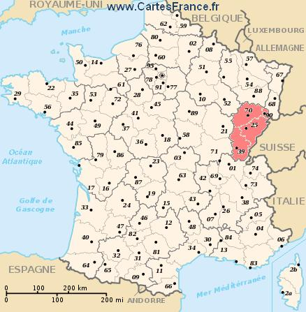 FRANCHECOMTE map cities and data of the region FrancheComt