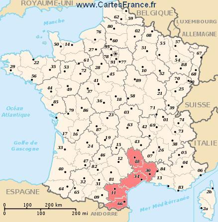 map region Languedoc-Roussillon