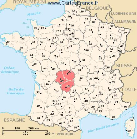 map region Limousin