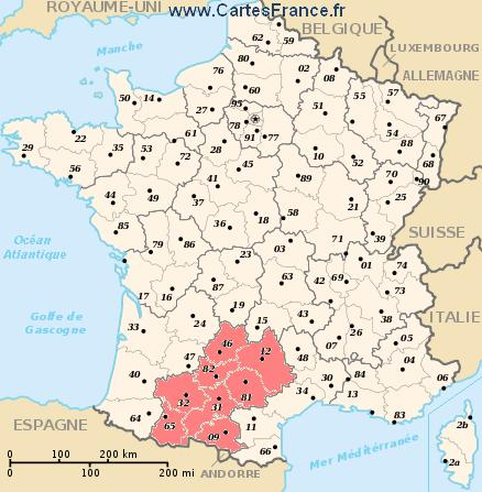 map region Midi-Pyrénées